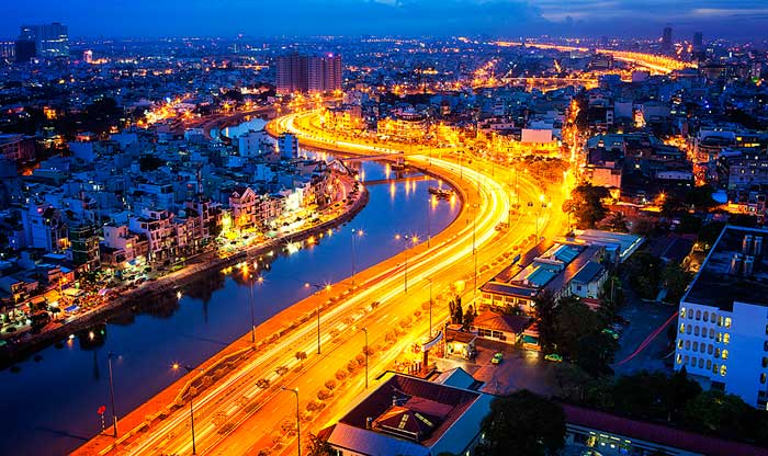 Saigon River at night in Ho Chi Minh City Travel guide