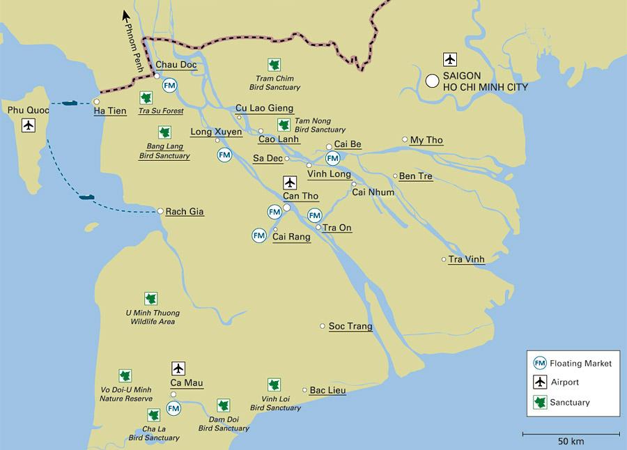 Mekong Delta's Map - Mekong delta day tour