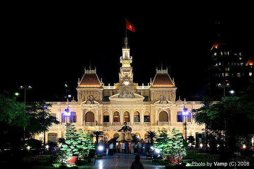 Ho Chi Minh City Hall lighting up at night - Things to do in Saigon